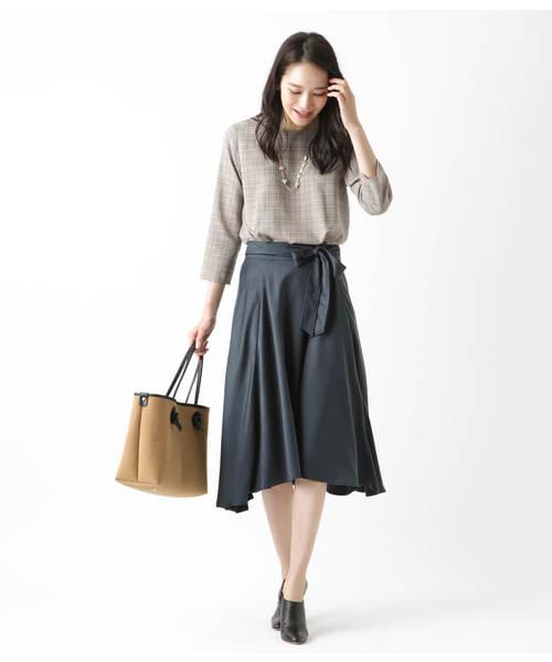 [NEWYORKER] カラードグレンチェック 裾タックブラウス