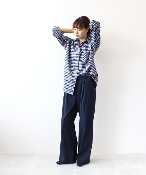 [DRESSLAVE] YANUK(ヤヌーク) / Y-SHIRT KATE -Backraised Gingham-(ギンガムチェックシャツ)