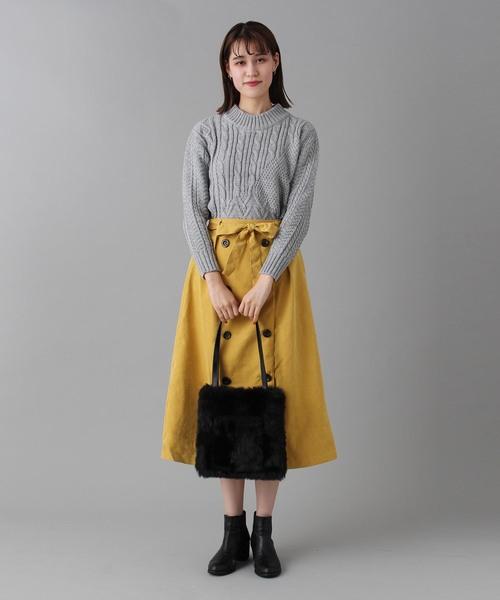 [BURNER] 【wordtrobe】ピーチ起毛トレンチ風スカート