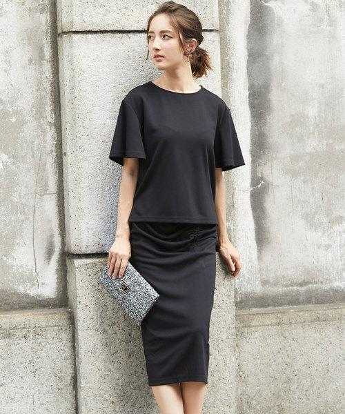 [tocco closet] 袖フレアTOPS+ギャザードレープタイトスカート