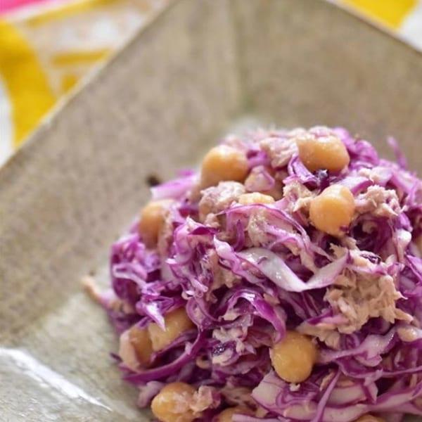 ⑦サラダレシピ:紫キャベツひよこ豆ツナサラダ