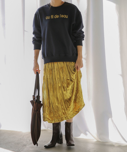 10[select MOCA] ベロアフレアスカート/ウエストゴムプリーツミモレ丈スカート