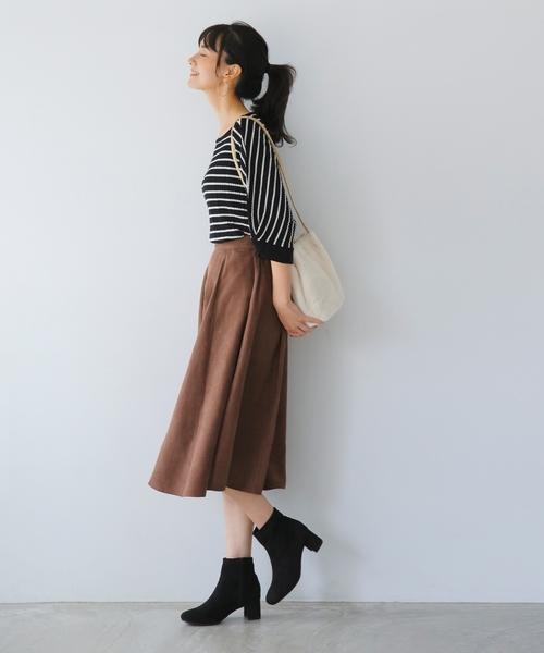 [WORLD ONLINE STORE SELECT] フェイクスエード フレアスカート