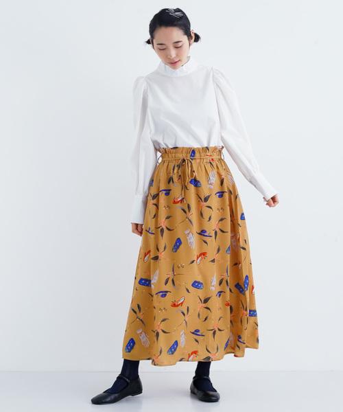 [merlot] 秋のお出かけ柄スカート8058