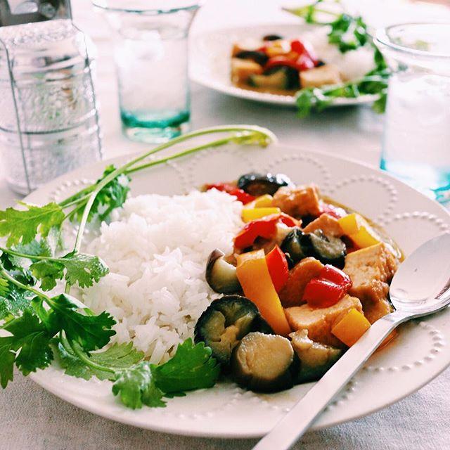大人気!厚揚げとパプリカの野菜グリーンカレー弁当