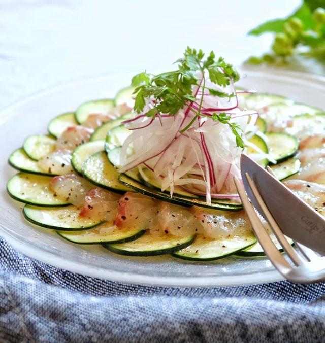 ②簡単おかず:真鯛とズッキーニのカルパッチョ