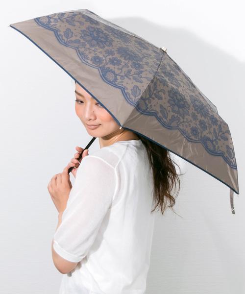 [macocca] 遮光率96%以上遮蔽率99% 軽量晴雨兼用 折りたたみ傘 レース柄
