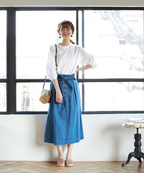 [coen] USAコットンウエストリボンライトデニムスカート