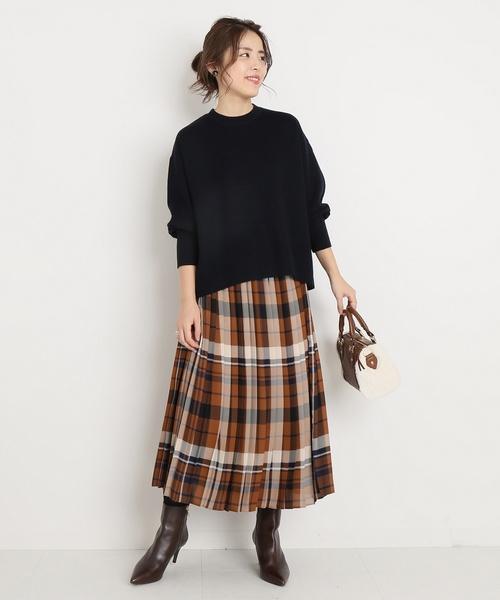 茶色 スカート 冬コーデ チェック3