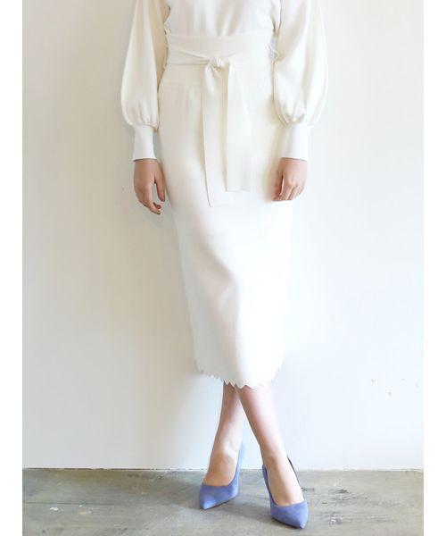 [LAGUNAMOON] スカラップニットタイトスカート