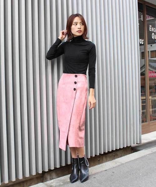 [MODE ROBE] スウェードボタンスカート
