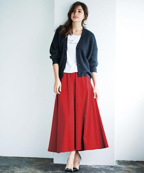 [Ranan] 綿100%フレアーマキシスカート