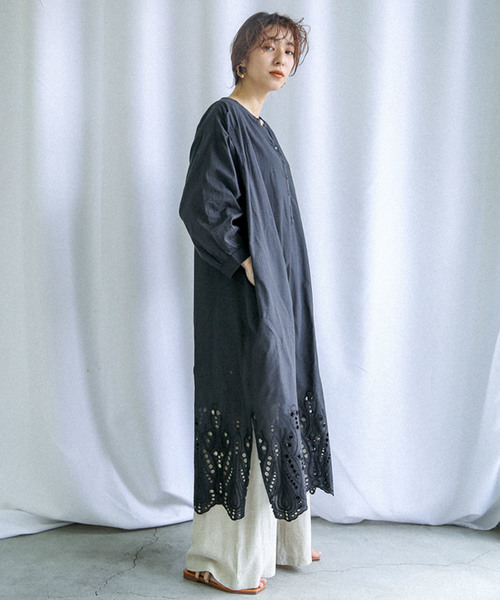 [select MOCA] カットワークエンブロイダリーOP/コットン刺繍サイドスリット長袖ロングワンピース