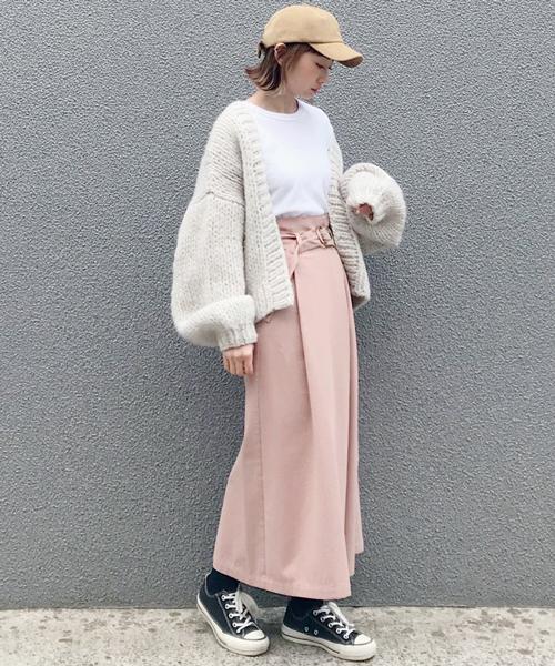 [AZUL ENCANTO] 【手洗いできる】【消臭効果】ベルト付きハイウエスト ラップ風スカート