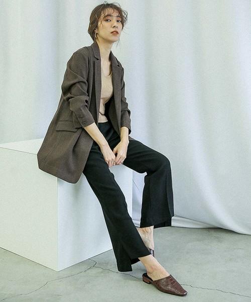 [select MOCA] ヘムスリットフレアパンツ/サイドスリット裾フレアパンツ