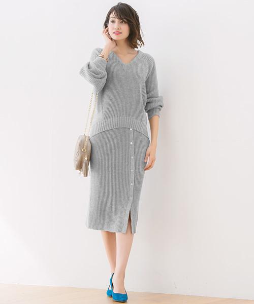 [Pierrot] シェルボタンラップ風ニットスカート