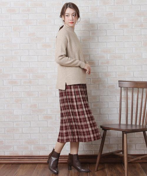 [Grandeir] ミモレ丈チェック柄プリーツスカート