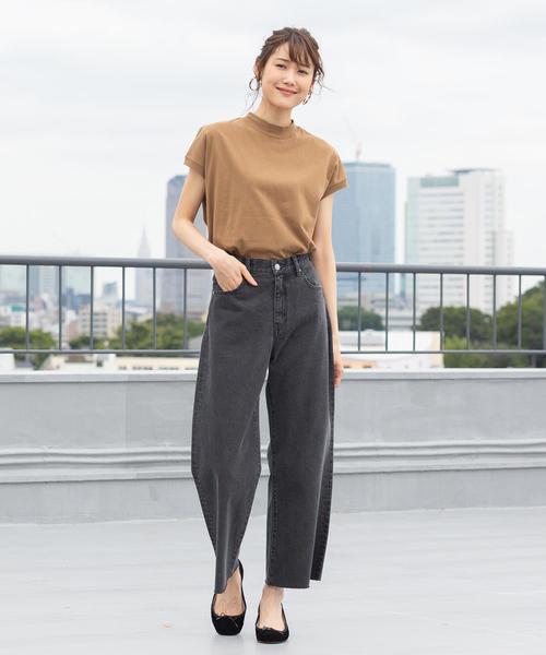 [coen] 【WEB限定カラーに新色ブラウン登場】USAコットンハイネックTシャツ