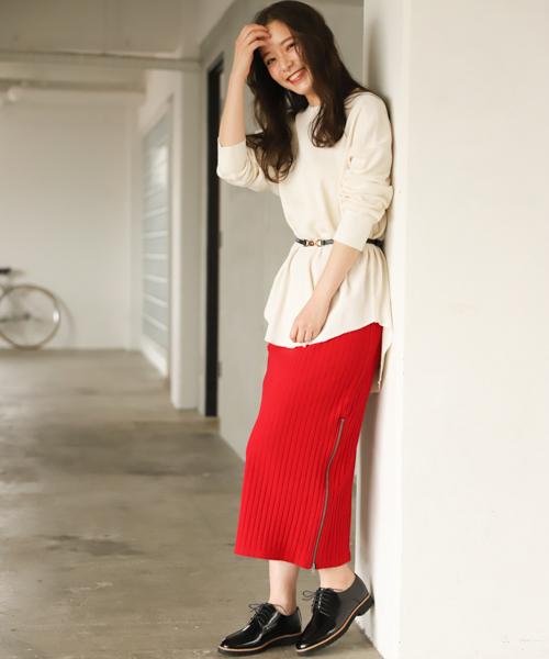 [mysty woman] 【WEB限定カラーあり】サイドZIPリブタイトスカート