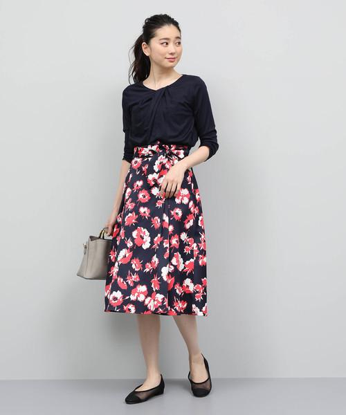 [ROPE'] 【ベルト付き】フラワープリントフレアスカート