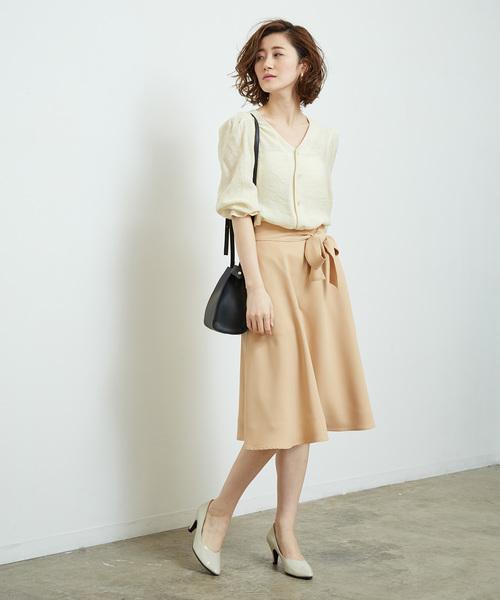 [ROPE' PICNIC] リボン付きフレアスカート