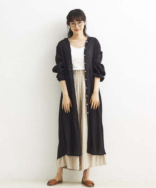 [A.I.C] 80S コットンクレープ・LONG SHIRT ONE PIECE