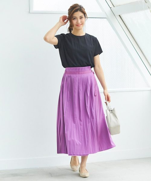 [ur's] プリーツラップロングスカート