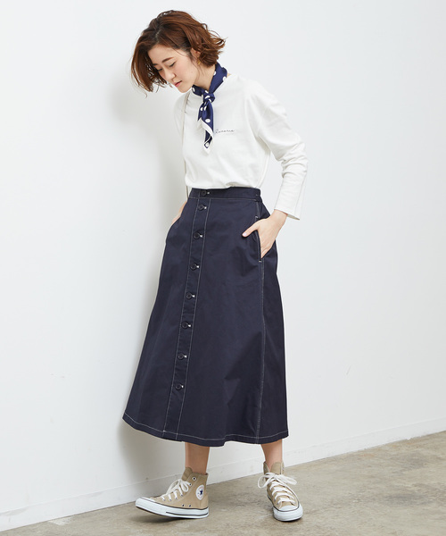 [ROPE' PICNIC] ボタン使いフレアスカート