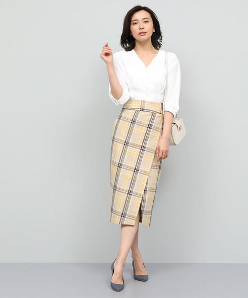 [ROPE'] 【洗える】チェックハイウエストタイトスカート
