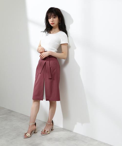 [PROPORTION BODY DRESSING] フロントプリーツリボンタイトスカート