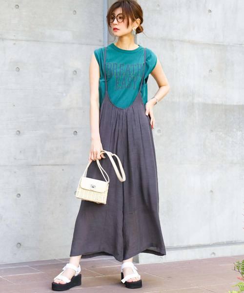 [Fashion Letter] スラブ楊柳ギャザーゆるサロペット