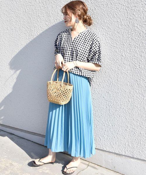 [SHIPS for women] SHIPS Days STANDARD:ギンガムスキッパー ショートスリーブシャツ ◇