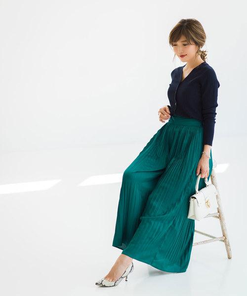 [tocco closet] 《Noriko&Michiko Collaboration》ヴィンテージサテンプリーツパンツ