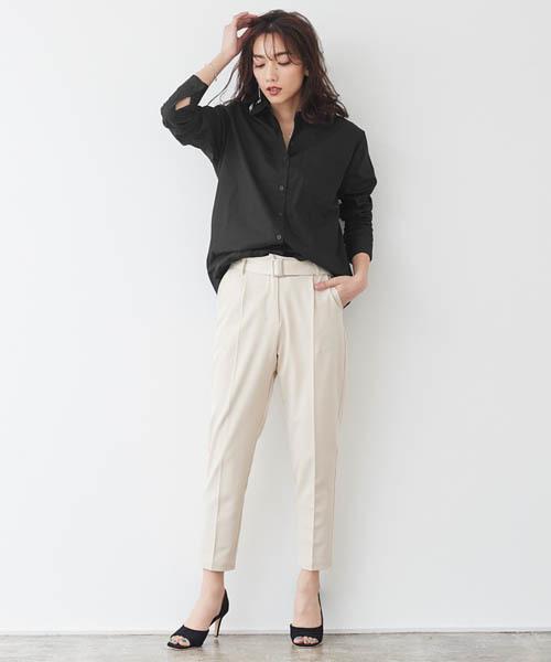[Pierrot] ポケット付きシンプルロングシャツ