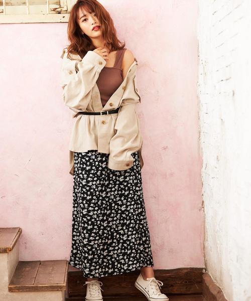 [INGNI] 花柄マーメイドロングスカート
