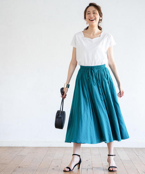 [coen] カットワーク刺繍フレンチスリーブカットソー