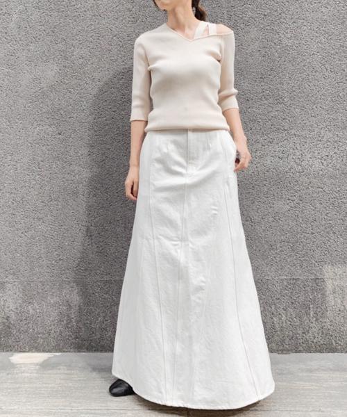 [CASA FLINE] ブロッキングデニムスカート