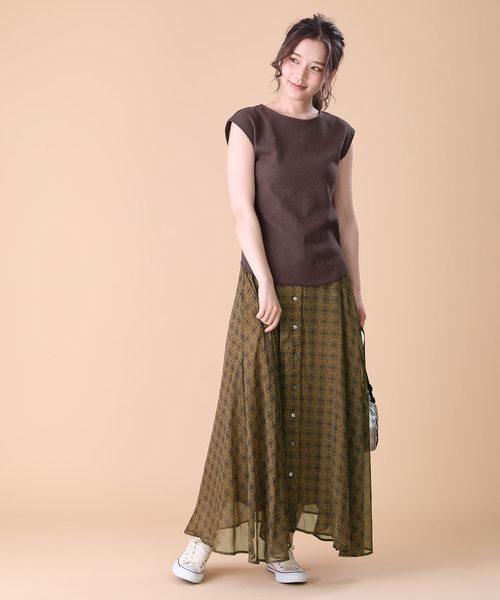 [FREAK'S STORE] 楊柳シフォンプリントスカート