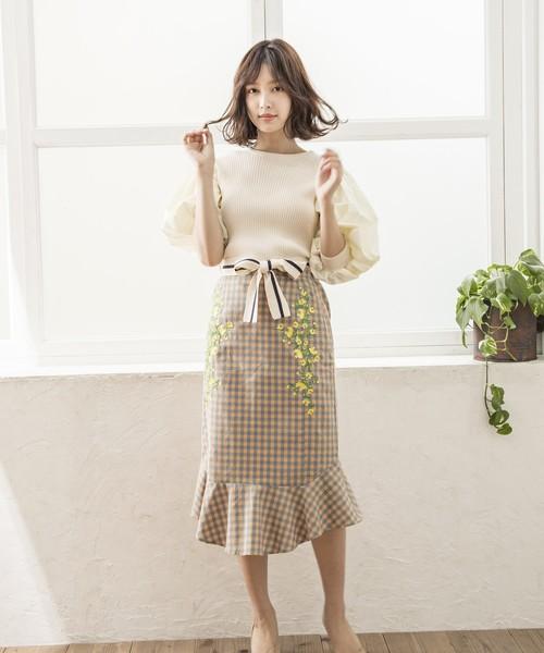 [Million Carats] noranoel flower花刺繍チェックスカート