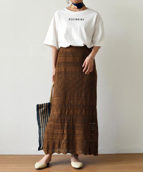 [Eimee Law & WASH] 透かし柄サマーニットロングスカート