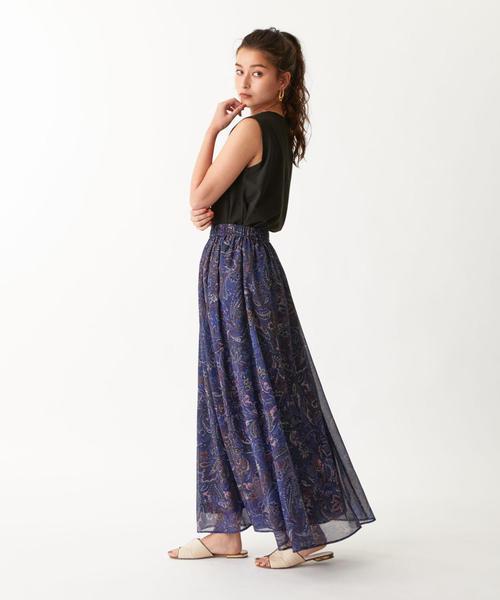 [EMMEL REFINES] SMF ペイズリープリント ギャザースカート