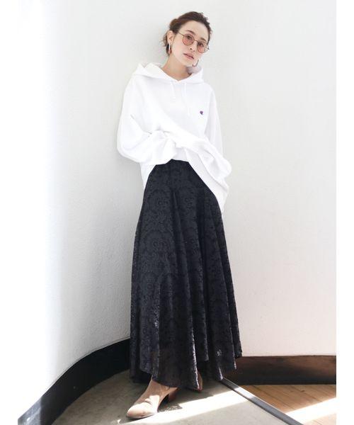 [Ungrid] レースイレヘムデザインスカート