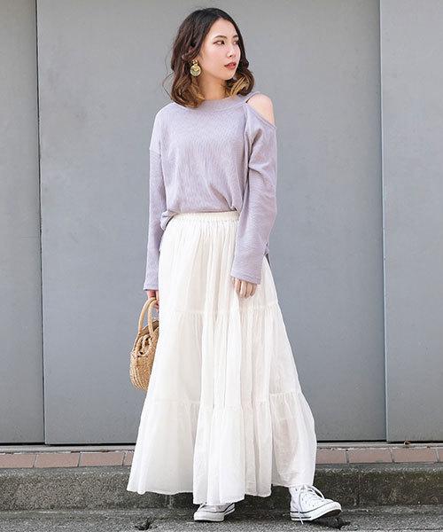 [ANDJ] インド綿ティアードマキシスカート