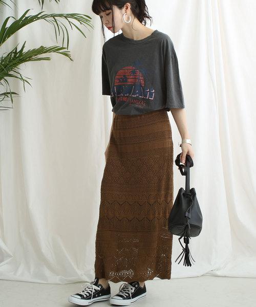 [Shelly island] 【Shelly island】かぎ針風レースニットロングスカート