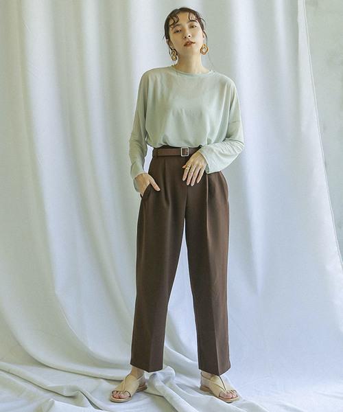 [select MOCA] シースルードロップショルダートップス/シアーラウンドネックサイドスリット袖裾カットオフ長袖カットソー