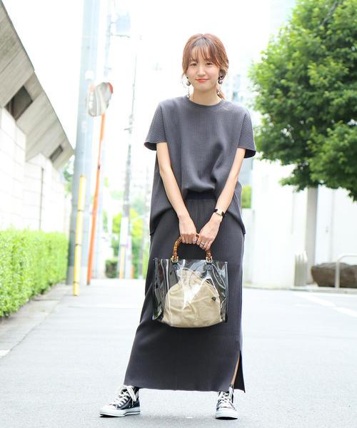 [coen] 【セットアップ対応】ヘビーワッフルロングスカート