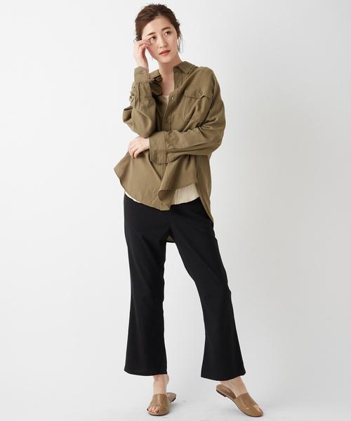 [Discoat] ポケット付ビッグシルエットミリタリーシャツ
