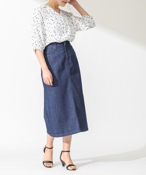 [Honeys] デニムAラインスカート