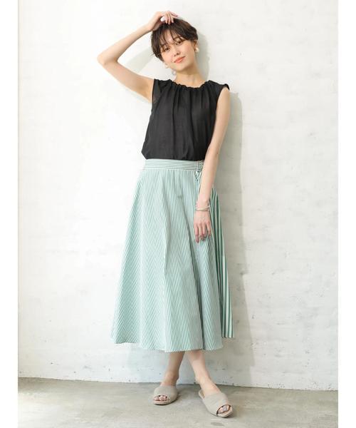 [koe] ストライプ切り替えスカート