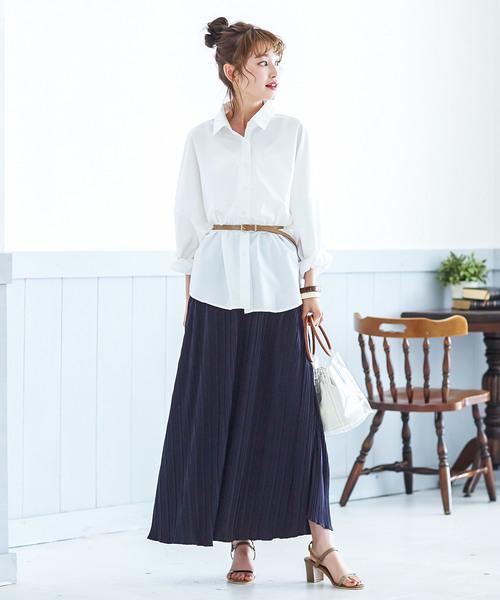 [kobelettuce] カットソープリーツマキシ丈スカート